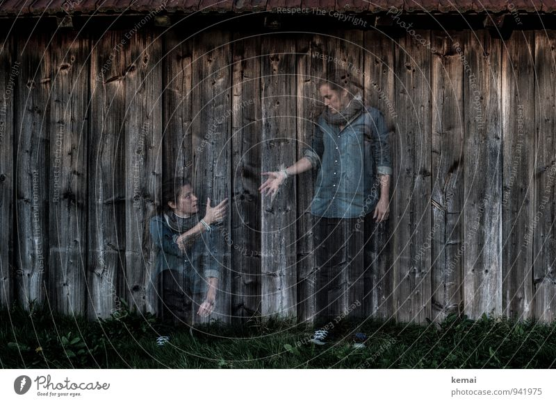 Human being Woman Hand Adults Wall (building) Life Emotions Feminine Grass Wall (barrier) Wood Friendship Together Lifestyle Sit Stand
