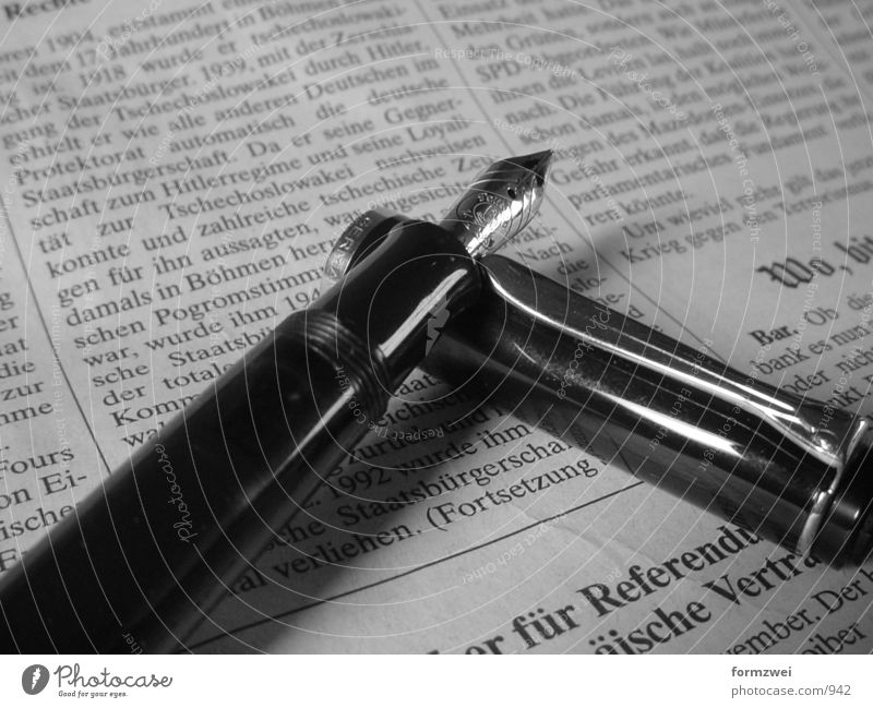Business Newspaper Things Black & white photo Media Fountain pen