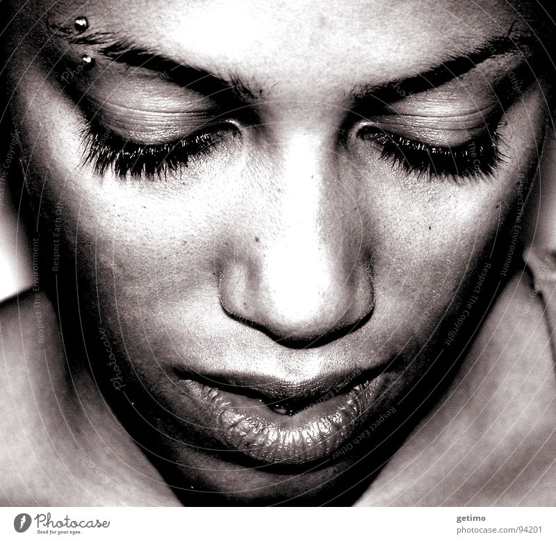 TSA Woman Piercing Portrait photograph Think Africans Eyebrow Beautiful Grief Distress Lady Black & white photo Sadness