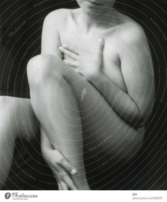 Woman White Black Legs Body Nude photography Knee