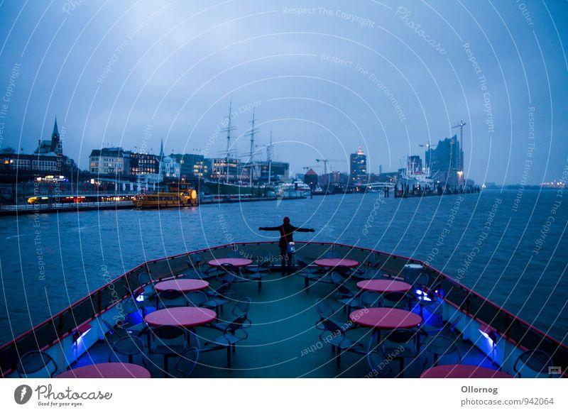 Hamtanic Means of transport Public transit Navigation Boating trip Passenger ship Ferry Harbour On board Dream Blue Colour photo Exterior shot Copy Space left