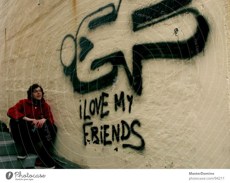 I Love My Friends Wall (building) Man Town Sincere Comic Open Trust I love my friends house wall Graffiti Human being Looking Emotions Heart Honest frankness