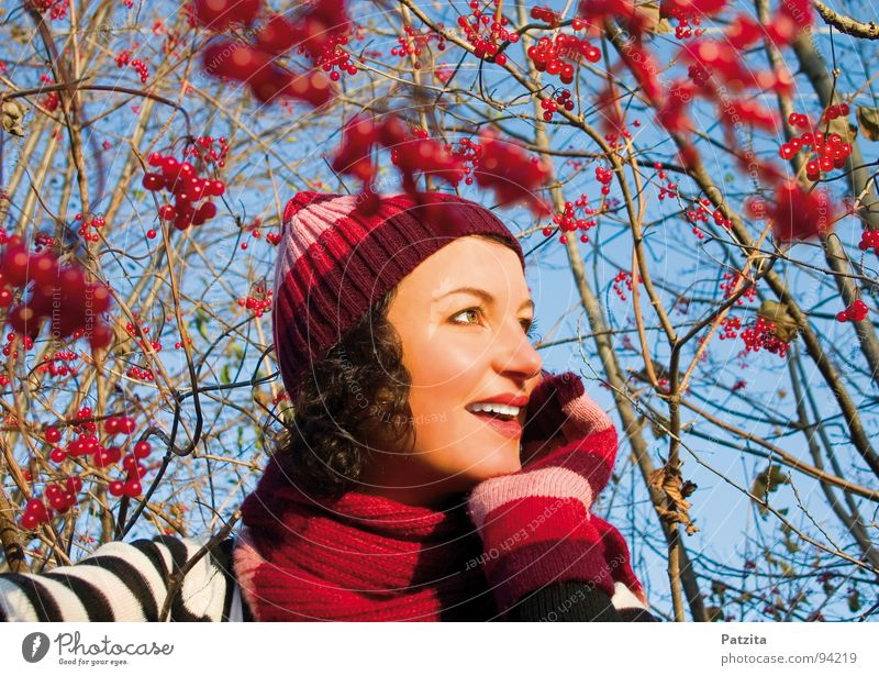 In the Magic Berry Land Woman Cap Scarf Gloves Winter Autumn Forest Red Bushes Beautiful Portrait photograph Strong Meadow Stripe Lips Dream Think Hiking