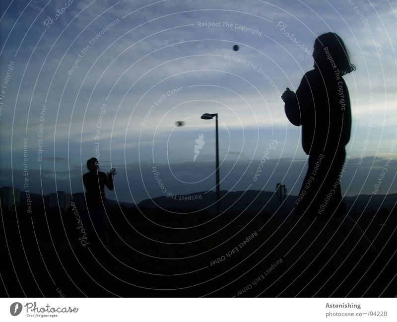 morning sport Joy Playing Ball Human being Masculine Friendship Youth (Young adults) Life Hand 2 18 - 30 years Adults Environment Nature Landscape Sky Clouds