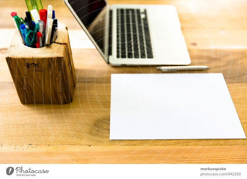 Office Esthetic Computer Idea Paper Retro Hip & trendy Desk Teamwork Notebook Vintage Piece of paper Nerdy Blank Designer