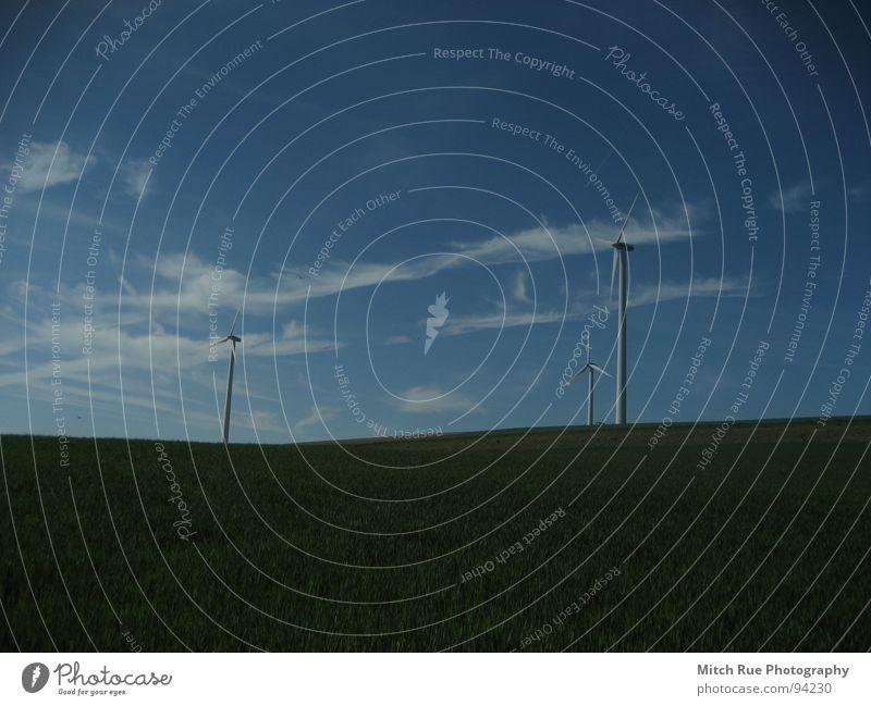 Blue Green Clouds Meadow Wind Wind energy plant Renewable energy