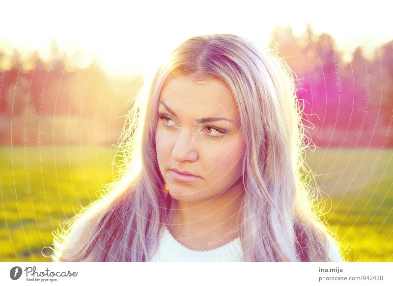 young woman with long purple hair pretty Life Harmonious Contentment Senses Human being Feminine Young woman Youth (Young adults) Woman Adults