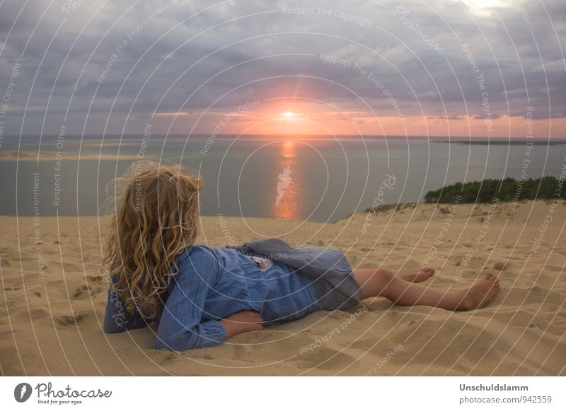 Before Sunset Vacation & Travel Tourism Summer vacation Child Girl Infancy Life 3 - 8 years Environment Nature Landscape Storm clouds Sunrise Ocean Dune du Pyla