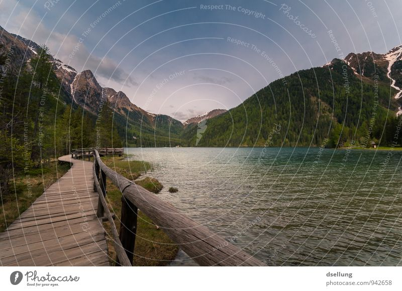 Lago di Anterselva Environment Nature Landscape Water Sky Spring Beautiful weather Forest Alps Mountain Lakeside Blue Brown Green Violet Orange Romance Calm