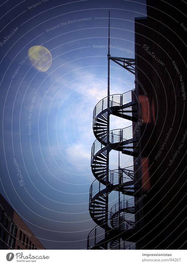 moonshadow Old warehouse district Night Mystic Dark Night sky Celestial bodies and the universe Moon Blue Stairs Sky