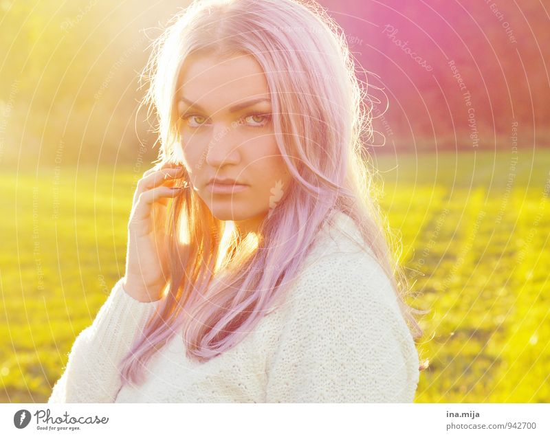 young woman with purple hair backlit Human being Feminine Young woman Youth (Young adults) Woman Adults Life Face 1 18 - 30 years 30 - 45 years Environment