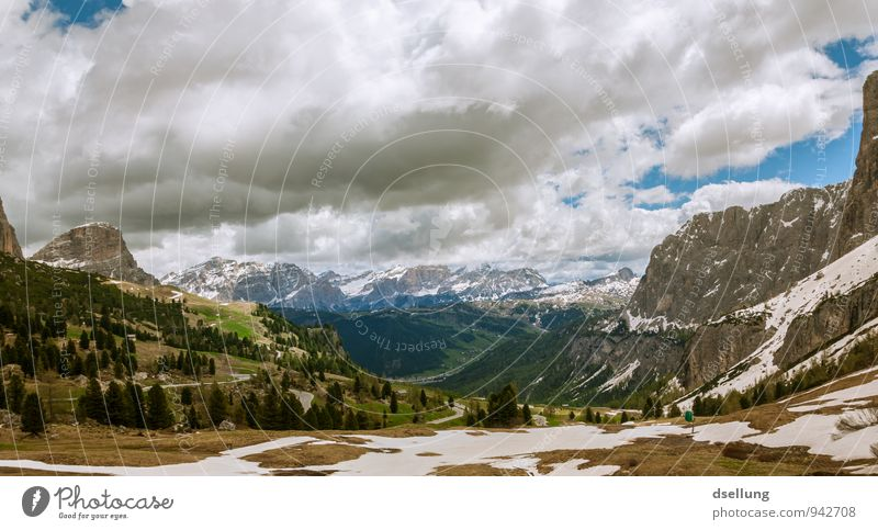 white-spotted mountain landscape Environment Nature Landscape Elements Sky Clouds Spring Summer Beautiful weather Forest Rock Alps Mountain Peak Snowcapped peak