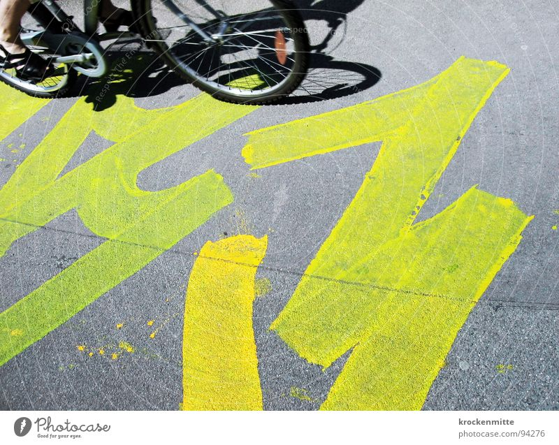 City Yellow Street Gray Graffiti Bicycle Art Floor covering Information Asphalt Sign Painting and drawing (object) Cycling Drawing Pedal