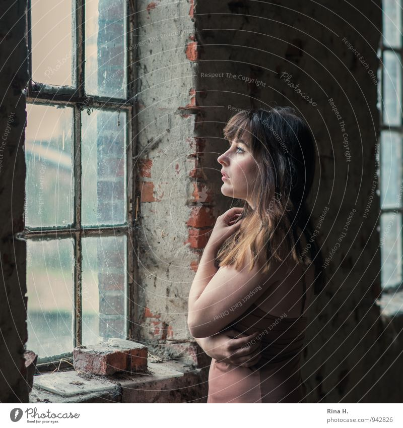 Human being Youth (Young adults) Beautiful Young woman 18 - 30 years Eroticism Window Adults Wall (building) Emotions Feminine Wall (barrier) Think Dream Stand
