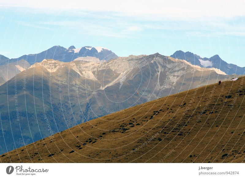 Human being Nature Vacation & Travel Blue White Loneliness Landscape Far-off places Mountain Autumn Snow Freedom Brown Rock Alps South Tyrol