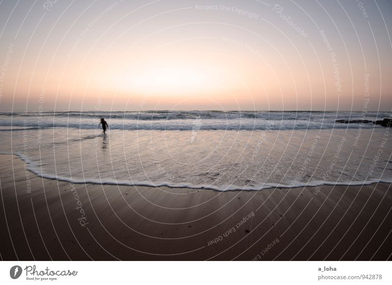 sunset surfer II Lifestyle Far-off places Summer vacation Beach Ocean Waves Aquatics Human being 1 Environment Nature Elements Sand Water Cloudless sky Horizon