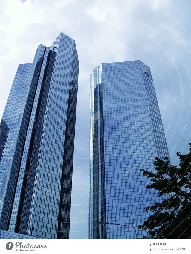Sky Old Blue City Clouds Style Glass Concrete Modern High-rise New Skyline Historic Steel Frankfurt