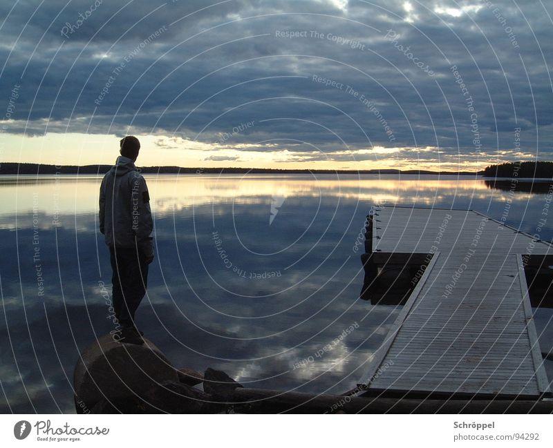 Summer Calm Lake Think Wait Horizon Midnight