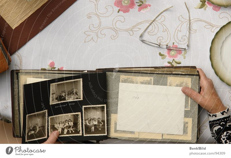 Hand Eyeglasses Grandmother Historic Memory Former Embroidery Photo album