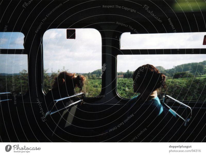 Sky Sun Summer Vacation & Travel Black Dark Think Friendship Field Trip Vantage point Bus England Rural In transit
