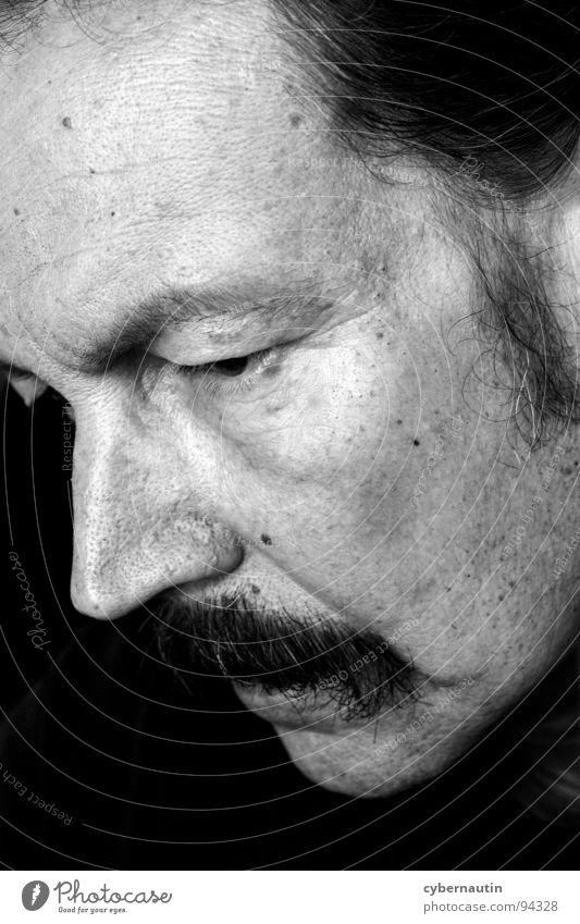 reflectiveness Man Portrait photograph Silhouette Moustache Facial hair Think Profile Wrinkles ponder Concentrate Sensitive