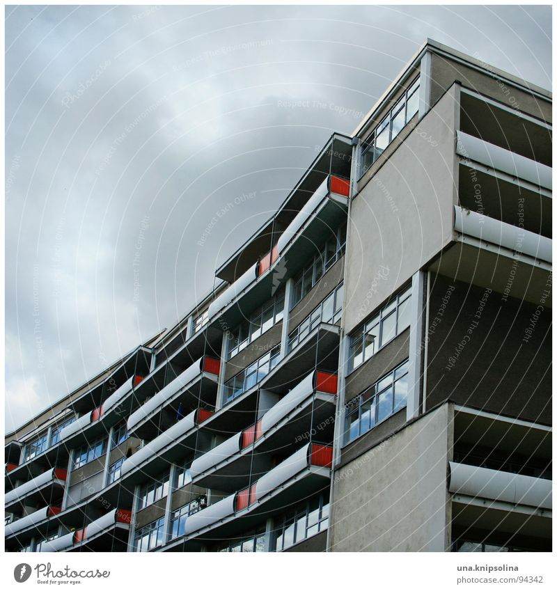 red chequered Air Clouds Architecture Modern Urban development Settlement Swing Concave Vaulting Block Projectile Berlin balconies apartment building