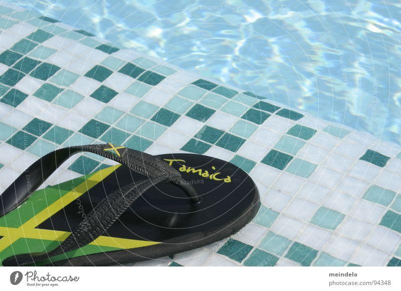 summer feelings Footwear Swimming pool Rubber Mosaic Green Yellow Loop Jamaica Vacation & Travel Playing Water Blue sandal fun wather Feet