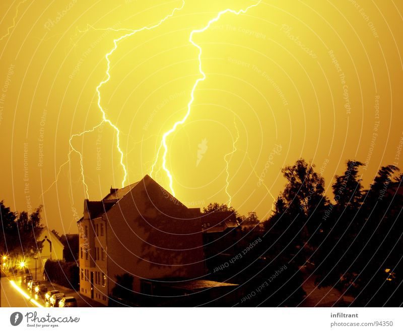 Potz Lightning Thunder Night Storm Gale Eerie Threat Flashy Thunder and lightning Weather Sky