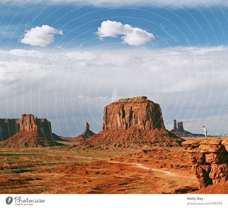 Sky Red Summer Clouds Freedom Orange Small Rock USA Desert 2006 Arizona Monument Valley Smoke signal