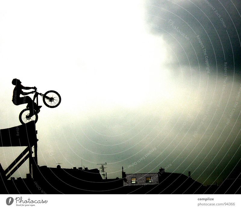Man Sky Joy Sports Playing Bicycle Power Art Flying Beginning Speed Aviation Driving Shows Forwards Exceptional