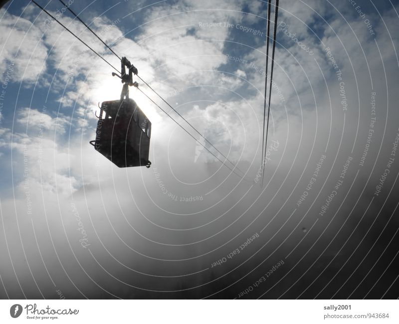 fly up into the unknown... Vacation & Travel Trip Adventure Mountain Clouds Fog Cable car Driving Flying Hang To swing Threat Dark Gray Apocalyptic sentiment