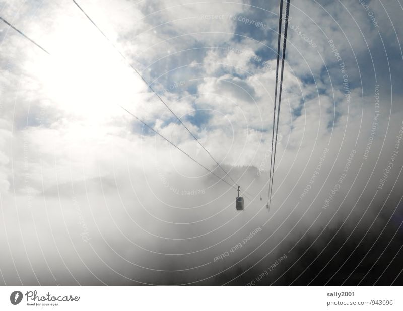 upward Trip Freedom Mountain Sky Clouds Sunlight Fog Alps Cable car Driving Flying Hang To swing Hiking Threat Dark Above Adventure Apocalyptic sentiment