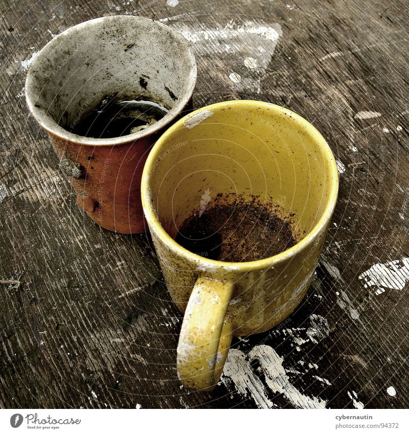 The painters were there ... Mug Coffee grounds Brush stroke Patch Swinishness Forget Stale Broken Things Painter Derelict marauded