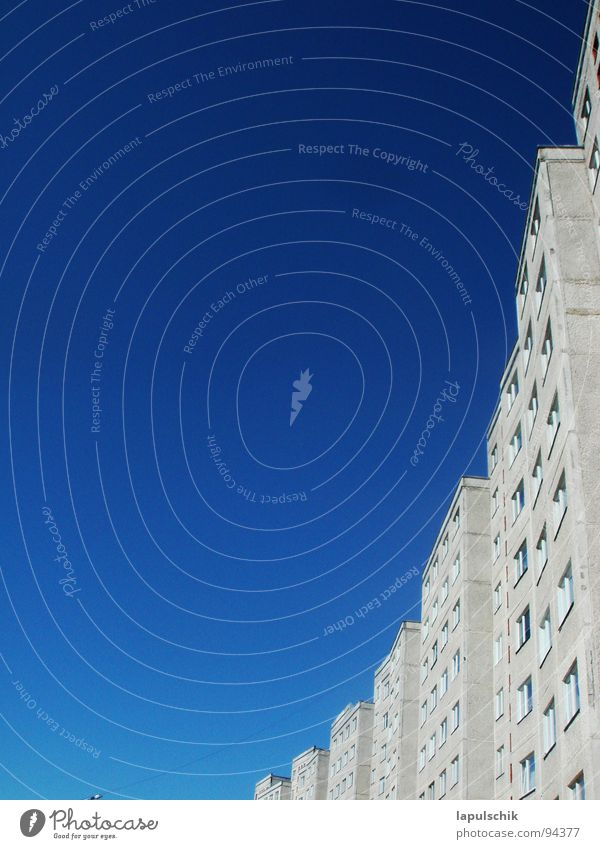sky blue High-rise House (Residential Structure) White Summer Exterior shot Window Sky Blue Freedom