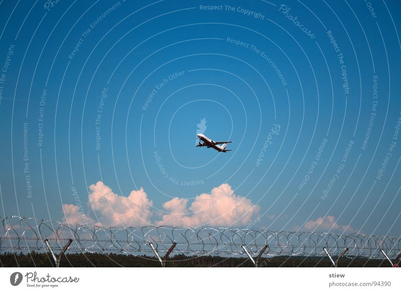 White Vacation & Travel Clouds Berlin Freedom Air Airplane Aviation Technology Airport Covers (Construction) Barbed wire Passenger plane Electrical equipment