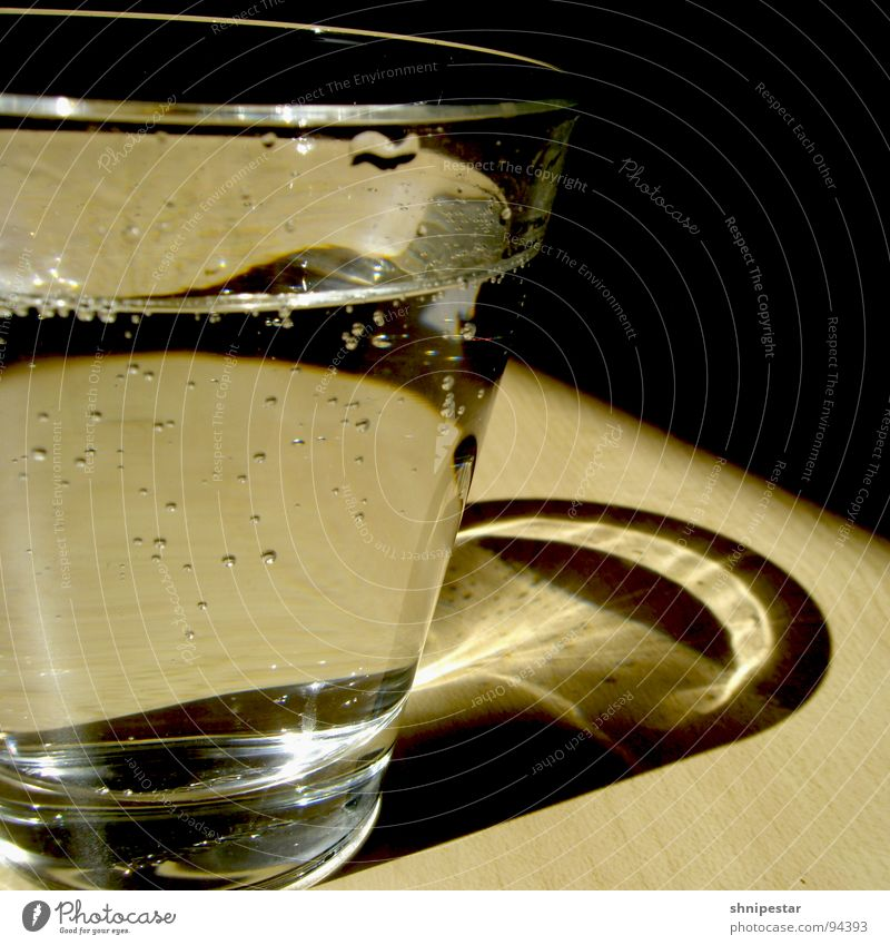 cold clear water Cold Carbonic acid Square Lunch hour Beverage Refreshment Healthy Kitchen Water Glass Reflection Bubble Shadow Contrast Partially visible