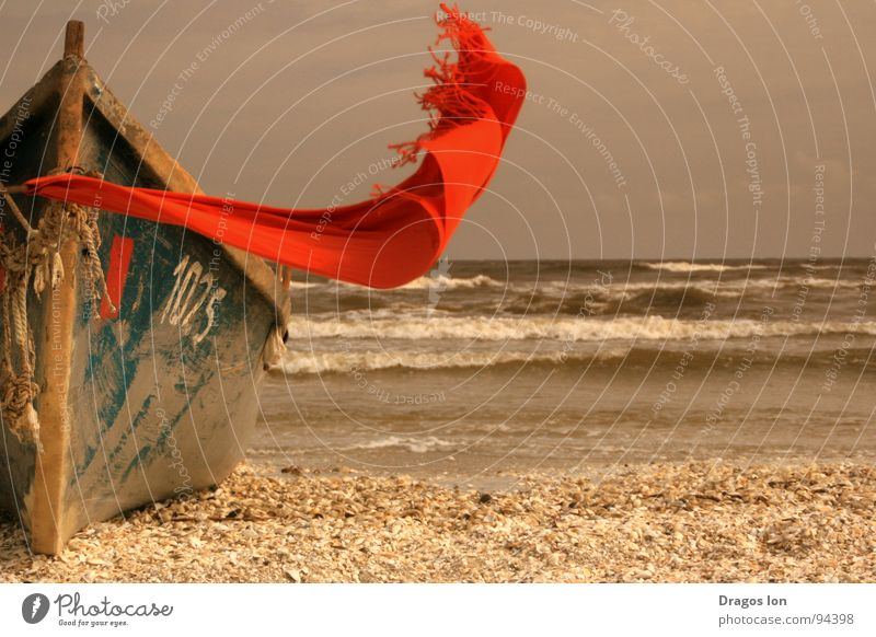 I'm here Beach Trust scarf red waves boat Wind Sand somewhere number