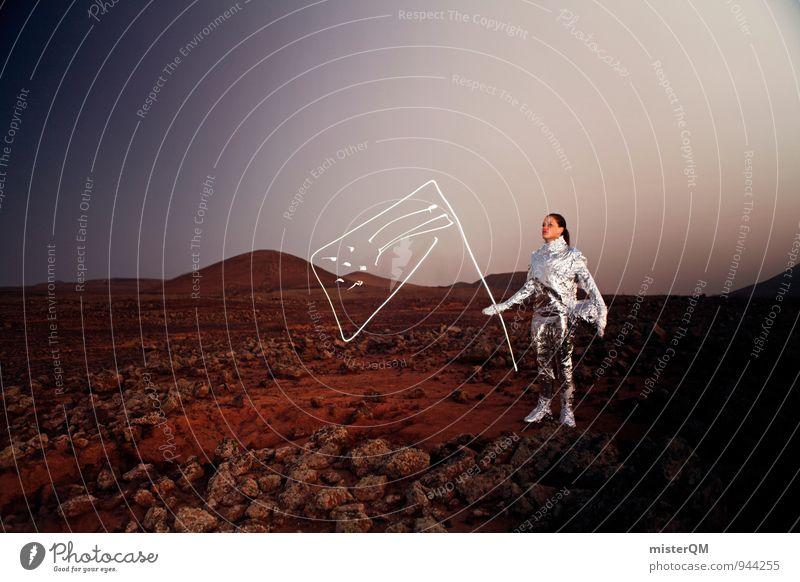 One Small Step. Art Work of art Esthetic Moon Moonlight Lunar landscape Mars Martian landscape Moon landing Moonstone Astronaut Universe Sputnik Space suit Flag
