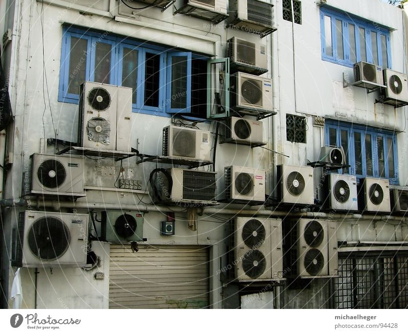 Cooling down? House (Residential Structure) Town Traffic infrastructure Dirty Small Funny Many Strange Air conditioning Multiple Singapore Exterior shot Detail