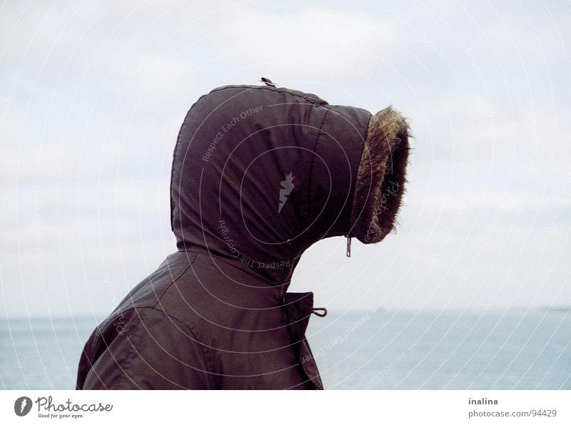 Human being Ocean Beach Head Rain Coast Wind Jacket Pipe Baltic Sea