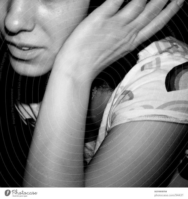 Woman Hand White Joy Black Music Happy Nose Lips Listening Shoulder Headphones
