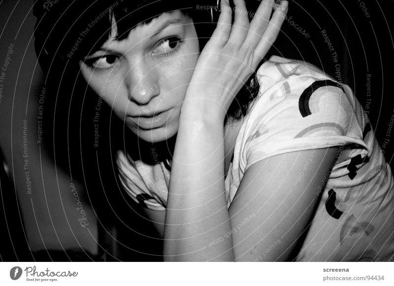 NY Lipps Woman Headphones Hand Shoulder Rainbow Cigarette Listening Concentrate Joy Music Arm Smoking Happy