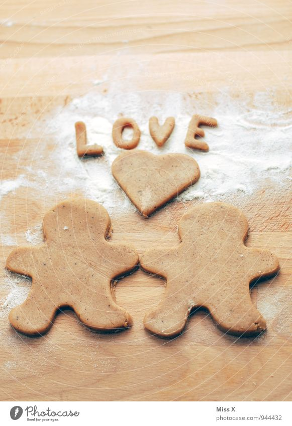 In love Food Dough Baked goods Nutrition Friendship Couple Partner 2 Human being Kitsch Delicious Sweet Emotions Moody Sympathy Together Love Infatuation