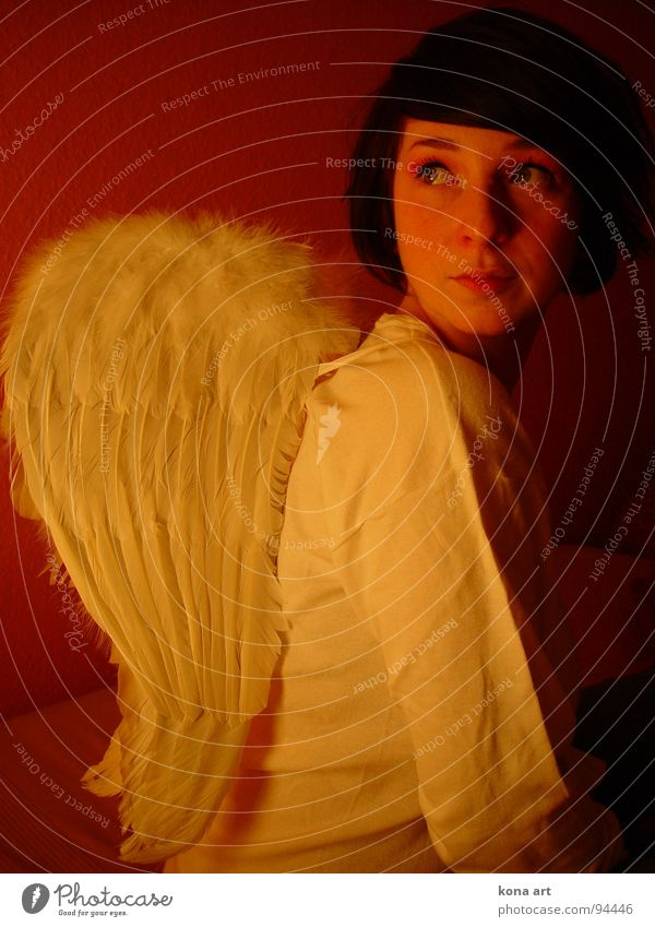 Woman Beautiful Girl Clouds Warmth Flying Angel Smooth Dreamily