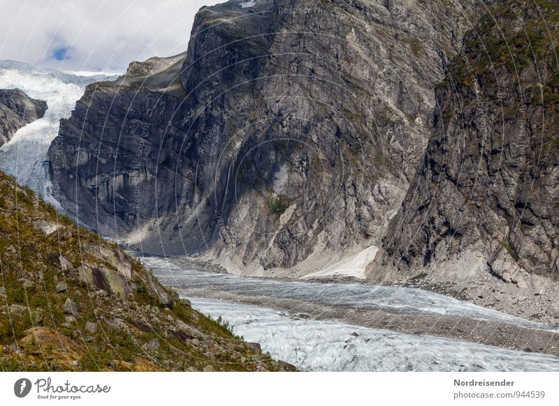 Nature Vacation & Travel Landscape Far-off places Cold Mountain Rock Hiking Climate Adventure Elements Bizarre Climate change Norway Glacier Glacier ice