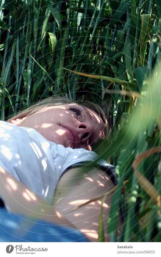 Woman White Green Summer Face Calm Loneliness Dream Moody Field Grief Lie Idyll Seasons Dreamily