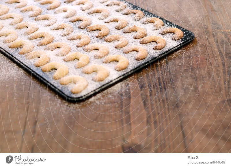 Christmas & Advent Food Nutrition Sweet Cooking & Baking Delicious Baked goods Dough Cookie Cookie Wooden table Christmas biscuit Confectioner`s sugar Baking tray Vanilla cookie