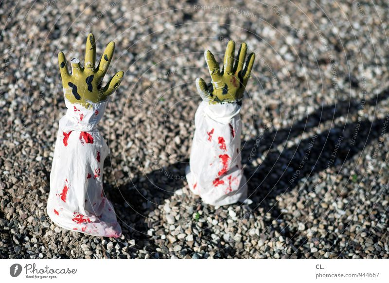 village life Hallowe'en Human being Hand Fingers 1 60 years and older Senior citizen Bandage Blood Bloodthirsty Blood stain Ground Creepy Pebble Stone Green Red