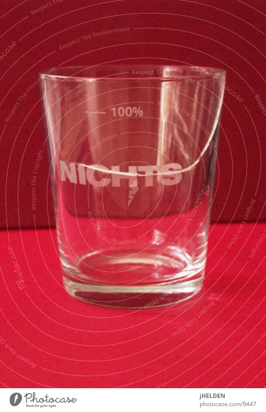 100% NOTHING Glass Broken Red Disaster Adversity Risk Lose Percent sign Empty Emotion design Tumbler Object photography Symbolism Typography Text Capital letter