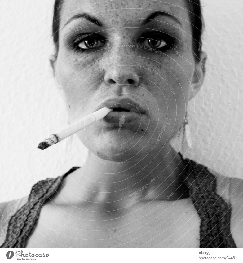Woman White Face Black Eyes Mouth Dirty Nose Gloomy T-shirt Cigarette Shirt Boredom Freckles Eyebrow Jewellery
